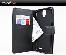 avadoo® Archos 55 Helium Ultra Flip Case Cover Tasche Leder in Schwarz Dualnaht