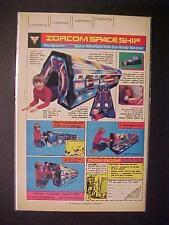Old Kids Space Play Set ~Zorcom Toy Sci-Fi Spaceship Art Print Ad~ Orig Vintage