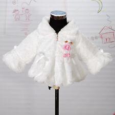 New Girls Ivory Faux Fur Long Sleeves Coat Bolero 5-6 Years