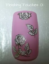 Wedding Nail Art- Metallic Silver White Flower Sticker #412 TJ031 Transfer Shiny