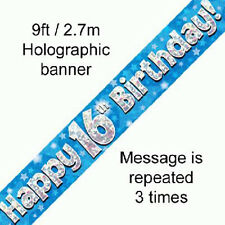 boys happy 16th birthday party foil banner 16 today decoration blue banners