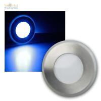LED Bodeneinbaustrahler Edelstahl, Licht blau, 12V, Bodenleuchte, Bodenstrahler