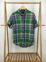 Ralph Lauren Men's Multi-Colored Plaid Linen Button Front Short Sleeve Shirt L