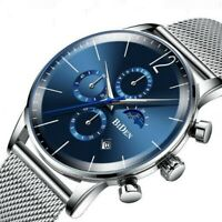 Herren Armbanduhr  Edelstahl Silber Blau  Analog Quarz Uhr Wasserdicht 3ATM