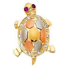 Real 14K Yellow White Rose Gold Sea Turtle Empty shell Color Eye Pendant Charm