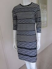LADIES MARKS AND SPENCER PER UNA NAVY AND WHITE DIAMOND & STRIPED DRESS SIZE 10