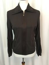 CAbi Womens Jacket Brown Techie Yoga Stretch Knit Style 166 Zip Front Size M