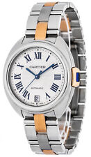 Cartier Cle 35mm 18K Rose/Pink Gold Sapphire Crystal Women's Watch W2CL0003