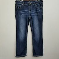 Maurices Womens Straight Leg Jeans 16 Short Dark Wash Distressed Thick Stitch