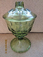 "Green pedestal candy dish with lid 9"" tall glassware"
