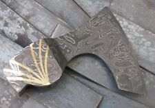 Custom Hand Made Moqen's Damascus steel Axe Head with brass inlay