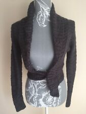 Jane Norman Womens Cropped Cardigan Size 8 Dark Grey Tie Front Long Sleeved