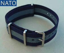 BRACELET MONTRE NATO 20mm (bleu gris) compatible Seiko Breitling Yema Hamilton