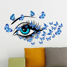 Blue Beauty Eyes And Butterflies Wall Sticker Living Room Bedroom Decorations