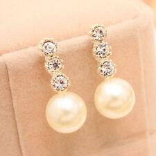 Women's White Faux Pearl Earrings Rhinestone Eardrop Ear Studs Jewelry Rapture