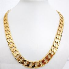 """REAL 18K Yellow """" Gold Filled """" Heavy 13 mm Curb Link Men Necklace  23.5"""" p922"""