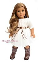White Dress + Belt + Western Girl Cowboy Boots clothes for 18 in American Doll