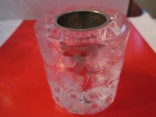 "LALIQUE VOTIVE HOLDER - ART DECO - FROSTED & CLEAR DESIGN - 3 1/8"" TALL - TUB VP"