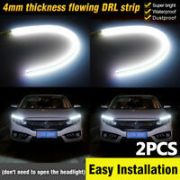 2X L + R 60cm LED Headlight Slim Strip Light Daytime Running Driving White DRL