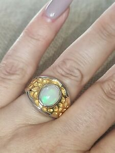💎Natural solid Opal chunky ring gold over solid 925 Sterling silver size M 6.5