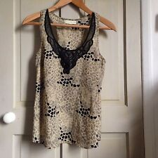 Women's Urban Outfitter Shirt Blouse Sleeveless Top with Lace Trim, Size 10