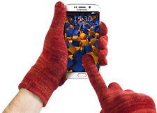mumbi Handy Handschuh für Display Tablet Handschuhe Größe M rot orange meliert