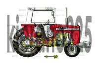 A3 Massey Ferguson MF 590 Tractor Poster Brochure Britains Farm Poster Cutaway