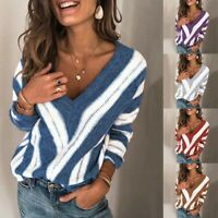 Womens Long Sleeve V-Neck Knit Jumper Stripe Sweater Ladies Pullover Blouse Tops