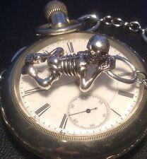 New listing memento mori Edwardian style pocket watch chain with anatomical skeleton fob