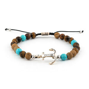 AXION - Sterling Silver Anchor Bracelet with tiger eye beads Mens bracelet