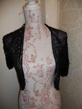 Black matte sequin crochet bolero 12 14 gothic glamour boho witch
