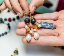Pendientes De Coral con Perlas Naturales Piedra Lava de Plata 925 para Mujer