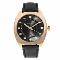 Gucci GG2570 Stainless Steel Gold Tone Black Dial Quartz Mens Watch YA142309