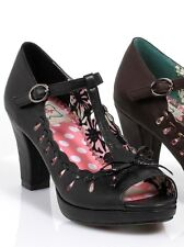 "Bettie Page ""Ida"" Retro Mary Jane T-Strap Bow Pumps Shoes Black 3"" Heels 6"