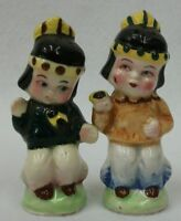 Vintage Non-Native American Indian Boy Salt and Pepper Shakers Hand Painted MIJ