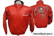 Tampa Bay Buccaneers NFL Reebok Men's Vintage Full-Zip Genuine Leather Jacket