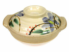 "Japanese 7.5""D Earthenware Donabe Casserole Pot & Lid Kikyo Flower Made In Japan"