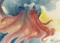 ACEO original painting Octopus Ocean Art Sea Listed By Artist Artettina USA