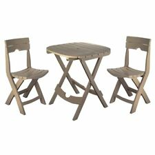New listing Small Patio Bistro Set Folding Round Table And Chairs Plastic Outdoor 3 Pieces