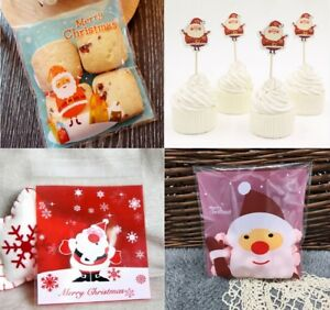 Christmas Cookie Sweet Gift Bags Plastic Seal Cellophane Santa Cupcake Toppers