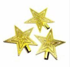 Shiny Decorative Christmas star Tree Topper Small 3pcs. Gold