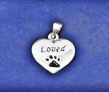Pet Memorial Charm Pendant Dog Cat Loved Loss Paw Print Pawprint Missed Heart