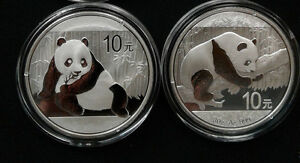 2 Coin Lot - 2015 and 2016 1oz .999 Fine Silver Chinese Panda Coins