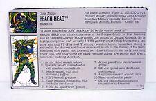 Gi Joe Beach Head File Card Vintage Action Figure Great Shape 1993