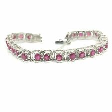 14k White Gold Natural Ruby Tennis Bracelet. July Birthstone