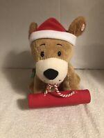 Hallmark ROCKIN ROVER Christmas PUPPY Animated Plush Sledding Barking DOG Tan