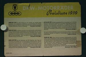 alte orig. Motorrad DKW Preisliste 1939 NZ 500 350 250 KS 200 RT 3 Auto Union AG