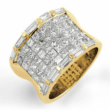 3.50 Ct Princess Baguette Diamond F VS2 Anniversary Ring Band 14k Yellow Gold