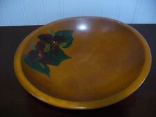 Vintage Hand Painted Red Trillium Wildflower Solid Wood Bowl