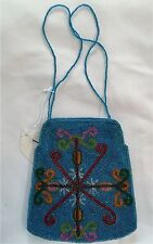 Clutch Bag Purse Hand beaded with Beaded strap handles New With Tags